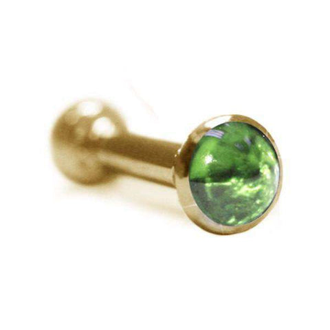 3.3mm Green Sapphire Cabochon Ear Pin