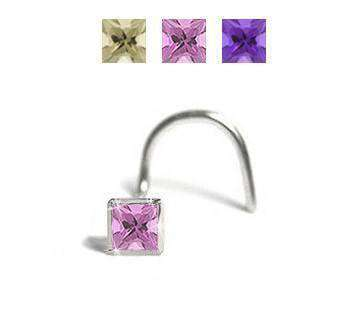 2mm, Pink Princess Cut Cubic Zirconia Nose Jewellery - BMG Body Jewellery