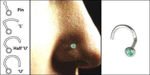 Emerald Nose Piercing Jewellery - BMG Body Jewellery
