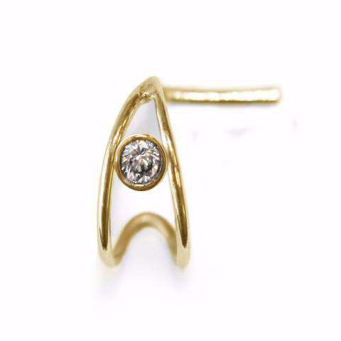 Nose Cuff with Single Diamond - BMG Body Jewellery