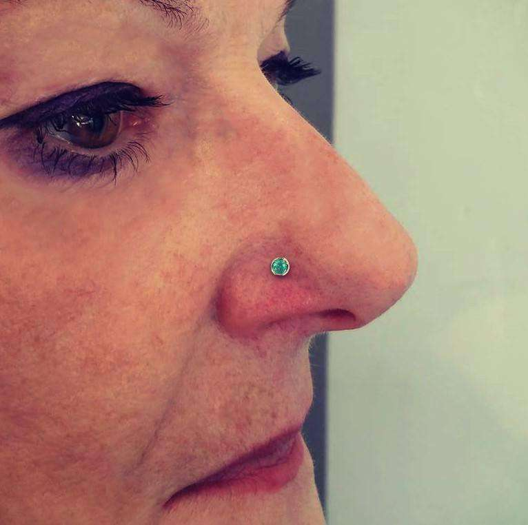 Paraiba Tourmaline Nose Jewellery, with 2.4mm Gemstone - BMG Body Jewellery