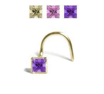Princess Cut Cubic Zirconia Nose Pin, with 2mm Purple CZ - BMG Body Jewellery