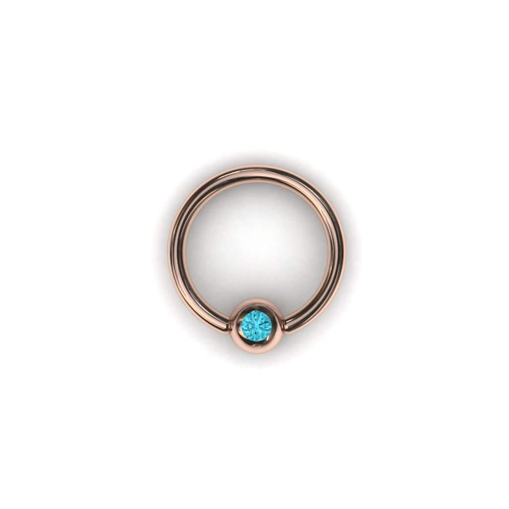 Paraiba Tourmaline Ball Closure Ring with 4mm Ball - BMG Body Jewellery