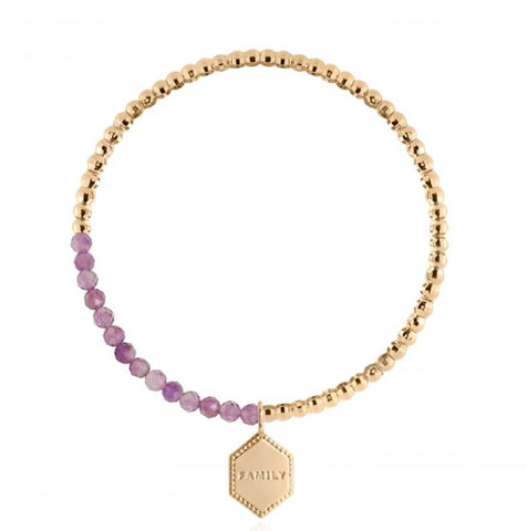 SIGNATURE STONES AMETHYST BRACELET GOLD | FAMILY 3245