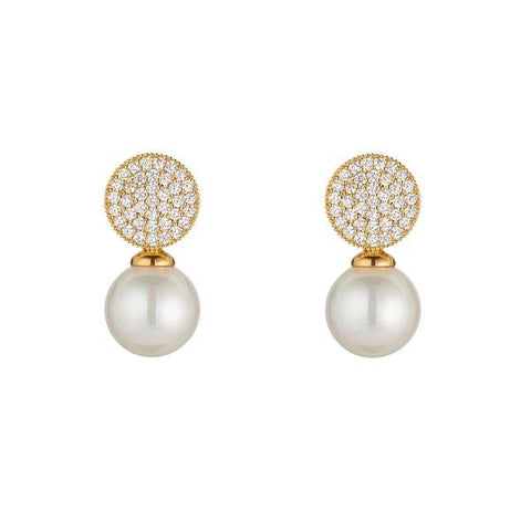 Knight and Day Crystal and Pearl Earrings