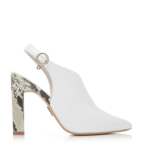 Moda in Pelle Cari White Sling Back