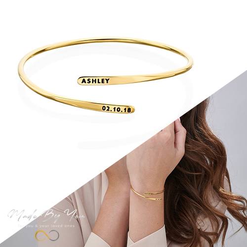 Engraved Adjustable Cuff Bracelet - MADE-BY-YOU (JEWELRY)