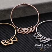 Bangle Bracelet with Heart Shape Pendants - MADE-BY-YOU (JEWELRY)