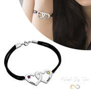 Couples Heart Charm Bracelet with Swarovski Crystals - MADE-BY-YOU (JEWELRY)