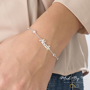 Name Bracelet with Clear Crystal Stone - MADE-BY-YOU (JEWELRY)