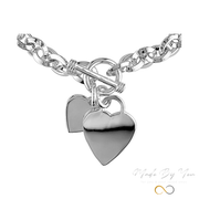 Oval Link Bracelet with Heart Charms - MADE-BY-YOU (JEWELRY)