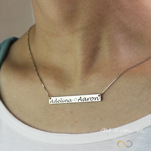 Bar Double Name Engraved Necklace - MADE-BY-YOU (JEWELRY)