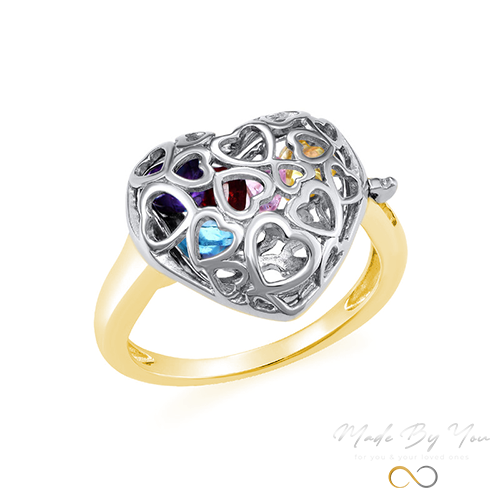Caged Heart Ring with Birthstones - MADE-BY-YOU (JEWELRY)