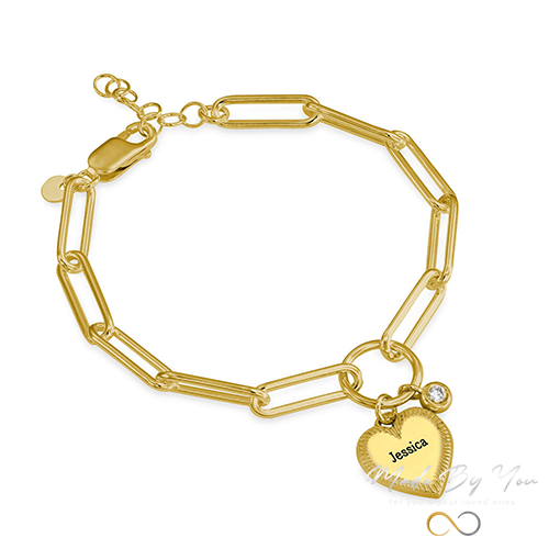 Heart Pendant Link Bracelet with Diamond - MADE-BY-YOU (JEWELRY)
