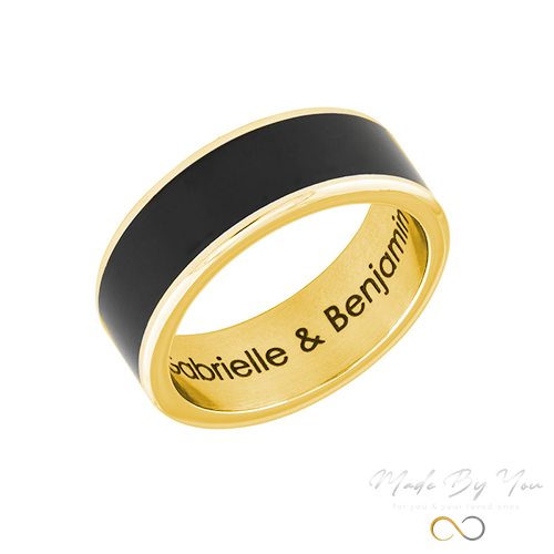 Engraved Stainless Steel Black Ring - MADE-BY-YOU (JEWELRY)