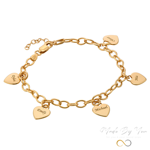 Link Bracelet with Heart Charms - MADE-BY-YOU (JEWELRY)