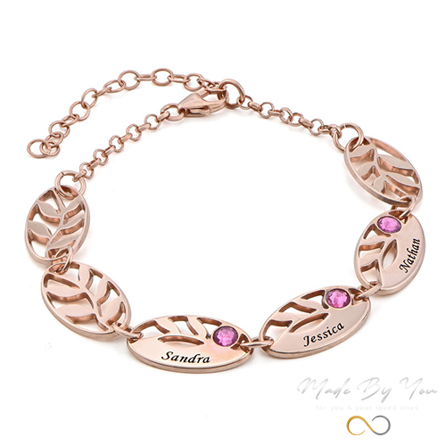 Mother Leaf Bracelet with Engraving - MADE-BY-YOU (JEWELRY)