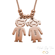 Mother's Necklace with Engraved Children Charms - MADE-BY-YOU (JEWELRY)