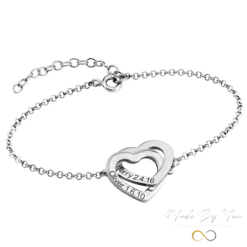 Interlocking Adjustable Hearts Bracelet - MADE-BY-YOU (JEWELRY)
