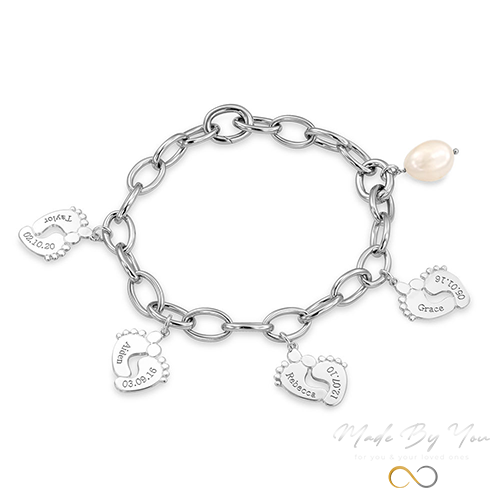 Mom Bracelet with Baby Feet Charms - MADE-BY-YOU (JEWELRY)
