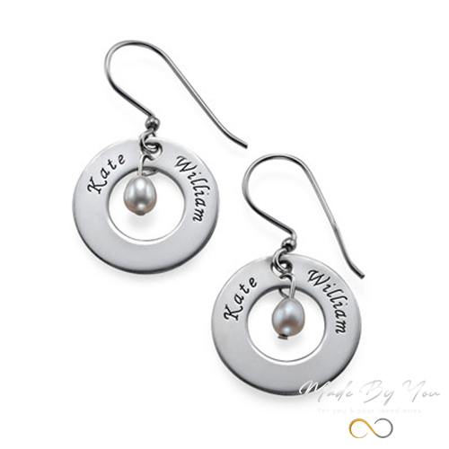 Personalized Two Names and Birthstone Earrings - MADE-BY-YOU (JEWELRY)