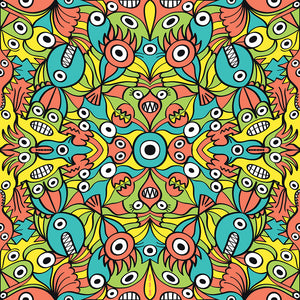 Alien monsters pattern design