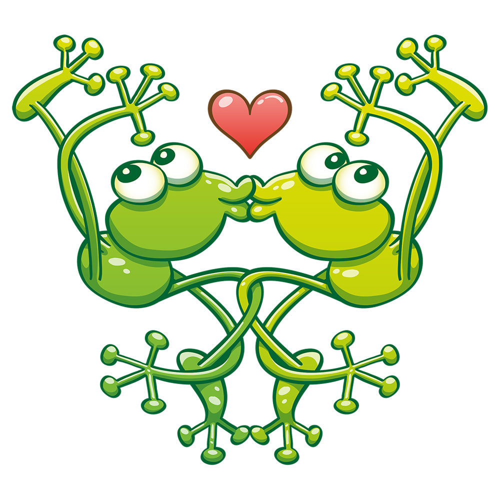 Cute frogs acrobatic kiss
