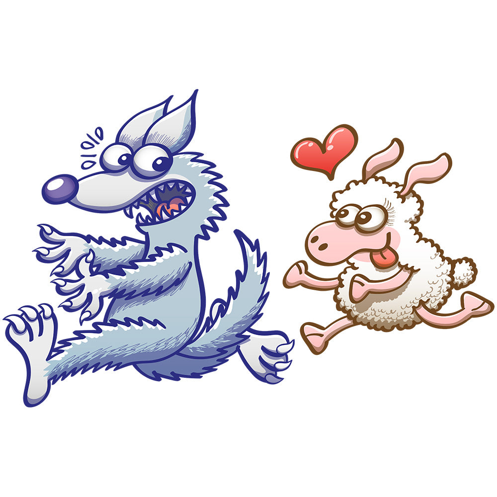 Sheep in love running after a wolf