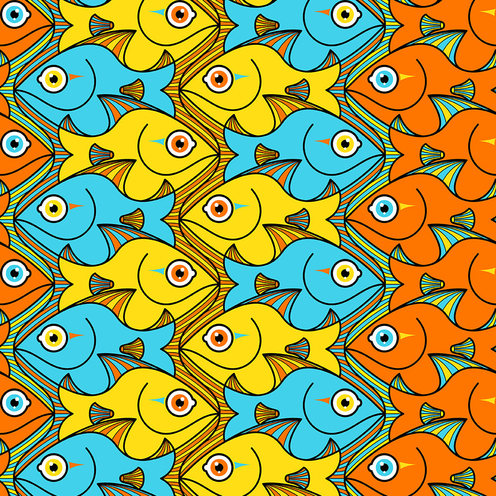 Smiling colorful fishes pattern