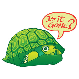 Green turtle asking if it's OK to go out of its shell