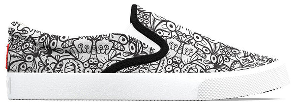 Awesome Zoo&co's pattern designs printed on Bucketfeet shoes
