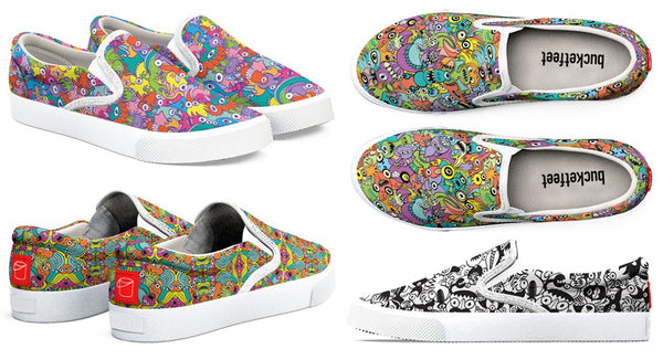 An incredible gallery of Zoo&co's designs printed on Bucketfeet shoes