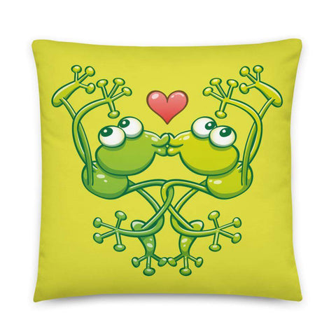 Cute frogs acrobatic kiss Basic Pillow
