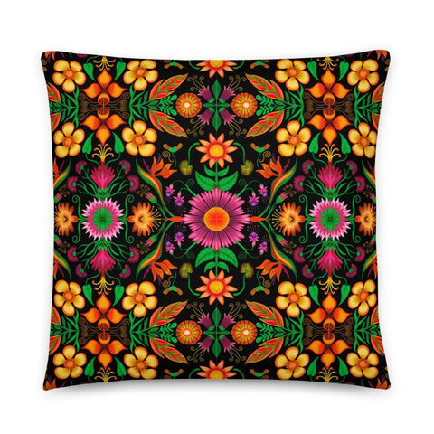 Wild flowers in a luxuriant jungle Basic Pillow