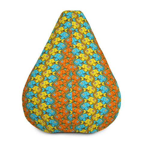 Smiling colorful fishes pattern Bean Bag Chair Cover