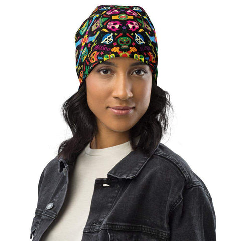 Mexican wrestling colorful party All-Over Print Beanie