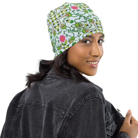 Funny frogs hunting flies All-Over Print Beanie - Zoo&co