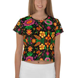 Wild flowers in a luxuriant jungle All-Over Print Crop Tee