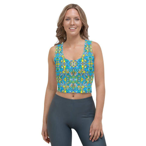Front view of a woman wearing a Crop top printed with Exotic birds tropical pattern