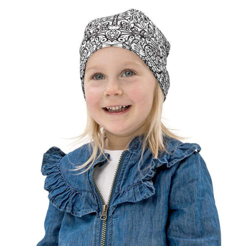 Brush style doodle critters All-Over Print Kids Beanie - Zoo&co