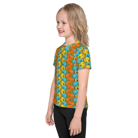 Smiling fishes colorful pattern Kids crew neck t-shirt