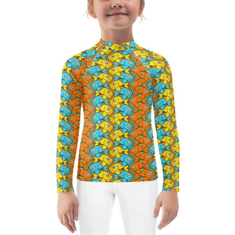Smiling fishes colorful pattern Kids Rash Guard