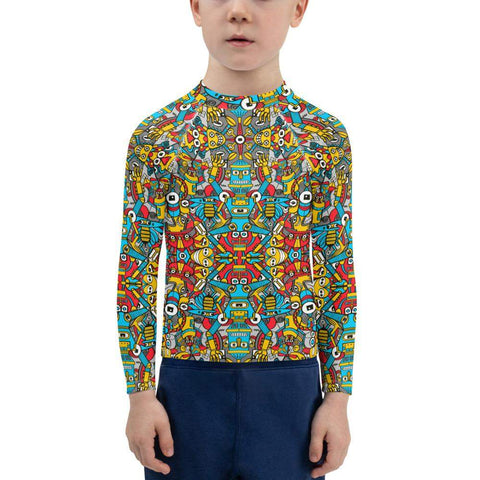 Crazy robots rising from rust in lively junkyards Kids Rash Guard
