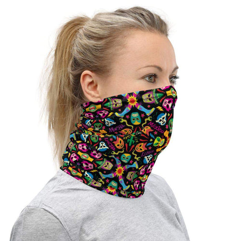 Mexican wrestling colorful party Neck Gaiter