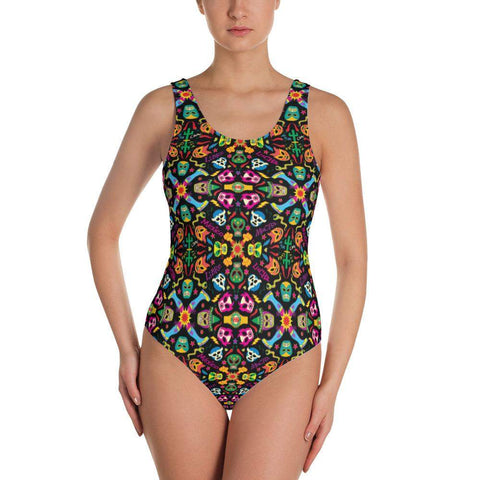 Mexican wrestling colorful party One-Piece Swimsuit