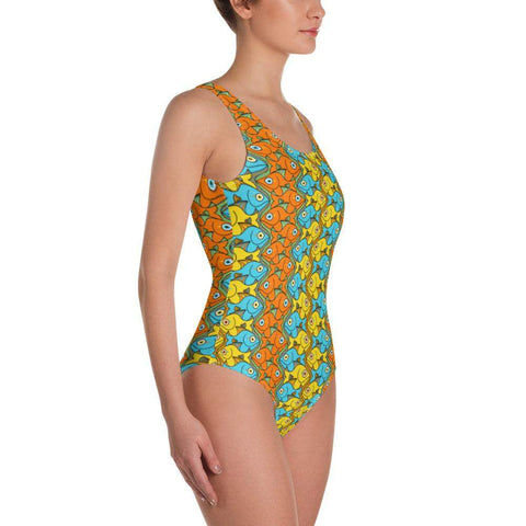 Smiling colorful fishes pattern One-Piece Swimsuit