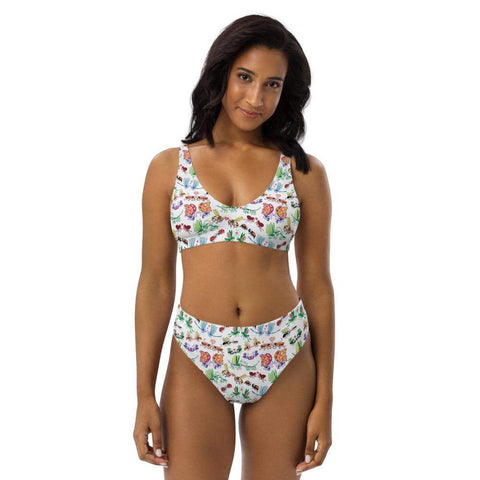 Cool insects madly in love Recycled high-waisted bikini - Zoo&co