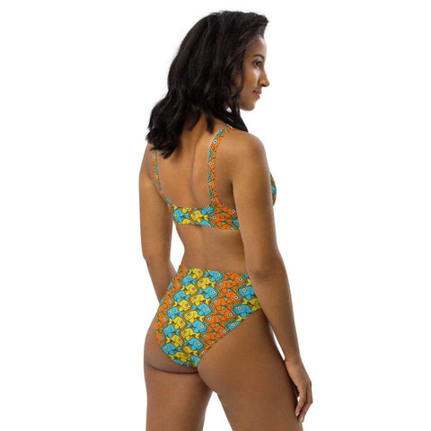 Smiling fishes colorful pattern Recycled high-waisted bikini