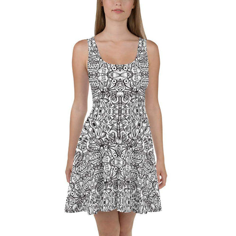Brush style doodle critters Skater Dress - Zoo&co