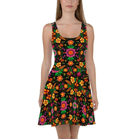 Wild flowers in a luxuriant jungle Skater Dress